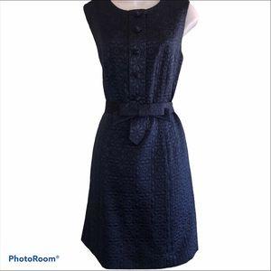 RAOUL Embroidered Floral Sheath Belt Dress POCKETS
